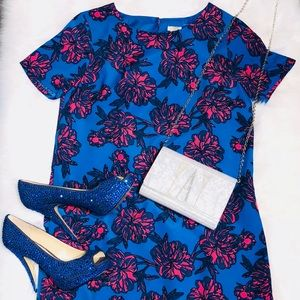 Blue with Pink Flowers Cocktail Dress